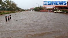 The streets of Port Hedland look like canals after Cyclone Christine dumped more than 120mm on the town and smashed it with h...