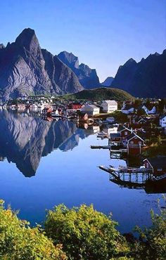 """Reine Reflection"".. Lofoten Islands, Norway // by Jack Brauer"