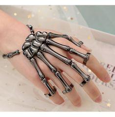 Skeleton bracelet,ghost bracelet,claw bracelet,linking finger bracelet,five finger ring bracelet Skeleton Hand Bracelet, Hand Bracelet With Ring, Skeleton Hands, Ring Bracelet, Bracelets, Emo Jewelry, Funky Jewelry, Hand Jewelry, Jewelery