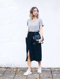 @roressclothes closet ideas #women fashion outfit #clothing style apparel Skirt with Leak and Sneakers