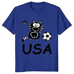 Funny Black Cat Kitten Soccer T-Shirt Gift USA Patriotic Tee