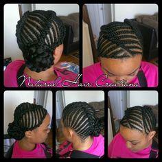 Cornrow bun style natural hair