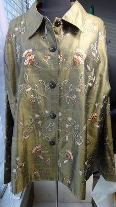 Coldwater Creek Shirt Jacket Lt green/gold w Embroidery SZ 3x Plus Long Sleeves #ColdwaterCreek #ButtondownShirtJacket
