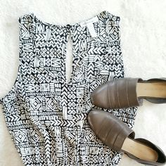 "Tribal/Aztec Romper Ambiance Apparel tribal romper. Size small. 2"" inseam. New without a tag.  I'm normally size 4-6 and small to medium depends on brands. This should fit size 2-4 the best in my opinion. Ambiance Apparel Pants Jumpsuits & Rompers"