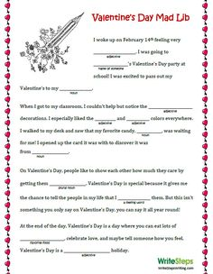 Valentine's Day Mad Lib for Elementary Students #engchat