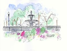This Forsyth Park Illustration was part of the inspiration for Lilly Pulitzer's new In the Garden print!