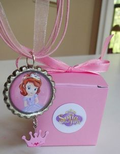 8 Sofia The First Necklaces with Crown Charm Gift Box Birthday Party Favors | eBay