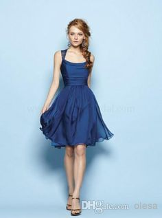 2014 Custom-Made New Spring Simple Cheap Royal Blue Scoop Sleeveless Empire A Line Knee-Length Lace Ruffle Chiffon Bridesmaid Dress