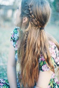 half-up braided beauty with multiple tiny braids <3