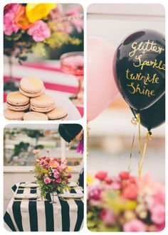 Striped table cloth and gold writing on black balloon.
