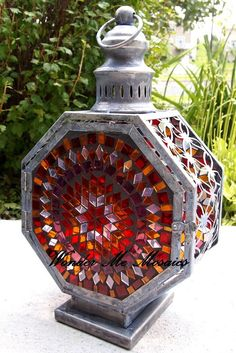 Stained Glass Mosaic Lantern - Colors of Love