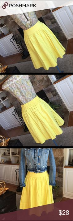 Skirt from Anthropologie Summery yellow skirt by Edme' & Esyllte from Anthropologie. Lined 100% cotton fabric with pleats to give that flattering Aline silhouette with elastic in back. Two side pockets. Excellent preloved condition. 🌼 Anthropologie Skirts A-Line or Full