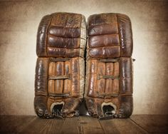Vintage Hockey Goalie Leg Pads Photo Photo art by shawnstpeter Hockey Goalie Pads, Ice Hockey, Goalie Gear, Montreal Canadiens, Vintage Sports Nursery, Professional Photo Lab, Boys Room Decor, Sports Art, Super Sport
