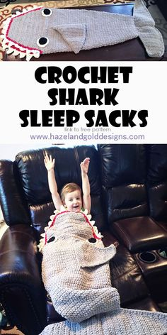 crochet shark sleep sack, crochet blanket, shark blanket, crochet shark