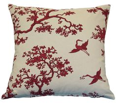Buy designer cushion online: The Cranes in Raspberry Cushion Cover. See our professional sewing service for custom products.