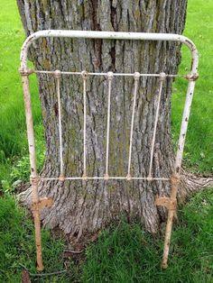 Antique Iron Baby Crib End Rail Repurpose DIY Pinterest Garden Decor Shab Rusty