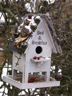 Finden sie in der Natur nichts mehr zu schnabulieren, fliegen Piepmätze auf das Futter in diesen Vogelhäuschen