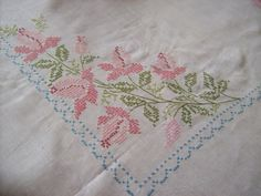 Vintage Embroidered Linen TableclothCottage by TeresasTreasuresEtc, $15.95