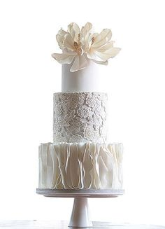 White tiered wedding cake with wonderful ruffle, lace and sugar flower details // Top 10 Wedding Cake Creators in Malaysia - Part 2 {Facebook and Instagram: The Wedding Scoop}