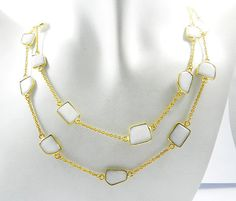 new hot fashion White Agate gemstone brass long chain vintage necklace jewellery #Handmade #Chain
