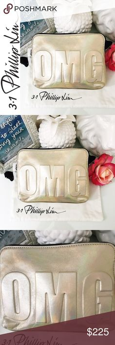 """Philip Lim """"OMG"""" Clutch in Warm Silver w/ dustbag Sold out everywhere! NWOT Phillip Lim OMG zip pouch is like an exclamation mark for your outfit. Holographic metallic leather with """"OMG"""" debossing makes it a fun clutch for a night out, as well as for accessory storage when traveling. Comes with a logo dustbag. -Metallic lambskin has subtle holographic effect with gunmetal hardware -""""OMG"""" debossing at front. -Zip-around top with bar pull. -Twill lining. -6""""H x 8""""W x 2""""D. 3.1 Phillip Lim Bags…"""