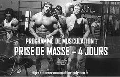 Programme musculation pour prise de masse sur 4 jours. Ce programme va vous permettre de gagner en masse musculaire pour atteindre vos objectifs.