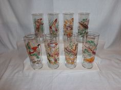 Vintage Glass Gold Rim Hunting Game Bird Zombie Collins Ice Tea Glasses (8)