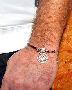 Mens+Leather+Bracelet,+Personalized/zodiac+&+LOTUS+from+CamelysUnikatBijoux+by+DaWanda.com