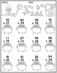 Print & Go Two-Digit Addition Printables Halloween Halloween Math Worksheets, Math Addition Worksheets, First Grade Math Worksheets, School Worksheets, 1st Grade Math, Kindergarten Worksheets, Free Worksheets, Math Sheets, Homeschool Math