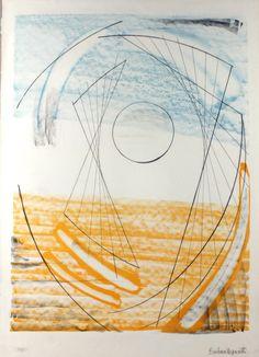 "Dame Barbara Hepworth lithograph ""Porthmeor"" one of a series of twelve printed in 1969 No. Landscape Drawings, Abstract Drawings, Abstract Art, Abstract Sculpture, Sculpture Art, Metal Sculptures, Bronze Sculpture, Jean Arp, Georges Braque"