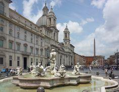 Fontana di Nettuno, Piazza Navona, Roma. Proyectada por Giacomo della Porta en 1574. Las estatuas de Neptuno y las nereidas datan del siglo XIX