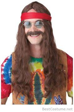 Halloween Men's Hippie Wig and Mustache