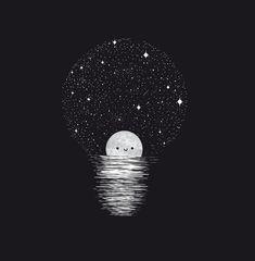 A reader lives a thousand lives before they die~ kawaii wallpaper, black wallpaper, Art And Illustration, Wallpaper Fofos, Art Manga, Light Art, Stars And Moon, Cool Art, Art Photography, Street Art, Artsy