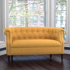 Three Posts Huntingdon Chesterfield Loveseat. A yellow loveseat to enhance a yellow themed room or to provide a punch of color. #yellowsofa #yellowdecor #yellowcouch #fukthishouse