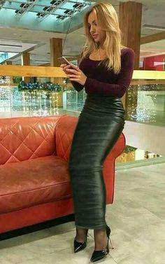 Long leather hobble skirt