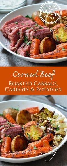 Corned Beef with Roasted Cabbage, Carrots & Potatoes + Horseradish Cream Sauce