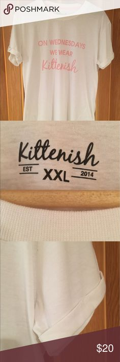 "JJD ""On Wednesday's We Wear Kittenish"" T-Shirt XXL Jessie James Decker Kittenish ""On Wednesday's We Wear Kittenish"" Short Sleeve T-Shirt. White with pink writing. Never worn. Size XXL. Kittenish Tops Tees - Short Sleeve"