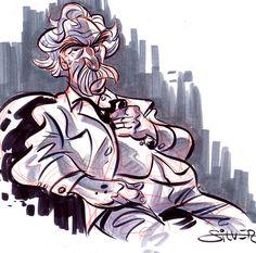 """Mark Twain"" by Stephen Silver. Adventures Of Tom Sawyer, Adventures Of Huckleberry Finn, Mark Twain, Literature, Silver, Art, Literatura, Art Background, Kunst"