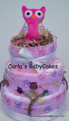 Pink Owl Baby Shower Diaper Cake, $100