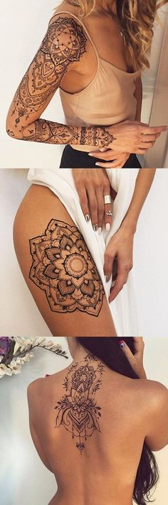 Large Geometric Mandala Tattoo Ideas Design & Placement - Full Arm Sleeve Lotus Tatt - Spine Back Neck Tat - Thigh Tatouage - MyBodiArt.com