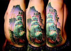 ship & storm tattoo Ship Tattoo Sleeves, Sleeve Tattoos, Storm Tattoo, Watercolor Tattoo, Ink, Tattoo Art, Pirates, Tattoo Ideas, Ships