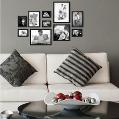 Fotomuur Deknudt - 10 Fotolijsten - Zwart Faire Un Collage Photo, Cafe Wall, Home Living Room, Love Seat, Sweet Home, Gallery Wall, Room Decor, Couch, Wall Art