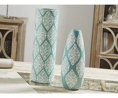Jarrón de cerámica - azul turquesa y blanco