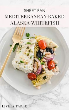 Make a flavorful, healthy dinner in no time with this sheet pan Mediterranean baked Alaska whitefish! Fish Recipes, Seafood Recipes, Baked Alaska, Healthiest Seafood, Mexica, Seafood Dinner, Food Dishes, Main Dishes, Healthy Dinner Recipes