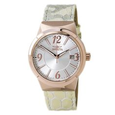 The Invicta 15411 Women's Angel Silver Dial Rose Gold Steel Beige Leather Strap Watch is angelic and only costs $70 #March #MarchMadness #Invicta #watches