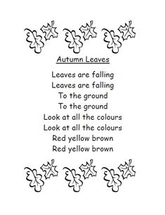 Autumn Leaves Poem:  Follow link for printable copy and activity