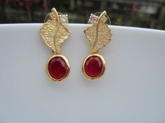 Scarlet Red Stone Dangle Stone Leaf Earrings Casual by Alankaar, $18.00