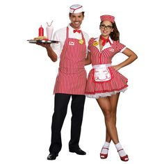 Costumes Halloween Couples Costumes - Retro Diner Waiter and Waitress - Get awesome Halloween costume inspiration for three people and more. Match costume with your friend group of three or four persons. Hallowen Costume, Group Halloween Costumes, Doll Costume, Halloween Couples, Nerd Costumes, Vampire Costumes, Group Costumes, 1950s Costumes, Vintage Diner