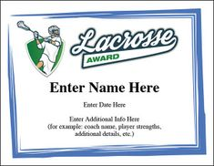 Lacrosse Certificates Templates  Lacrosse Certificate And Template
