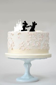 mickey and minnie silhouette wedding cake topper disney themed wedding cake quot and they all lived happily 17345